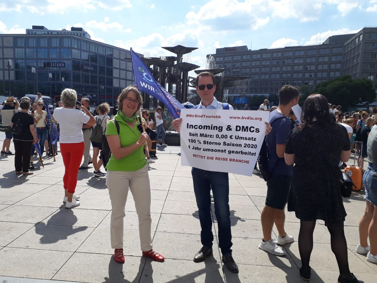 Protestaktion Rettet die Reisebranche in Berlin