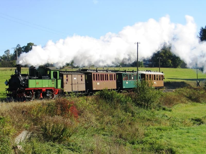 Traditional steam train of the Lößnitzgrundbahn in Friedewald with 99539
