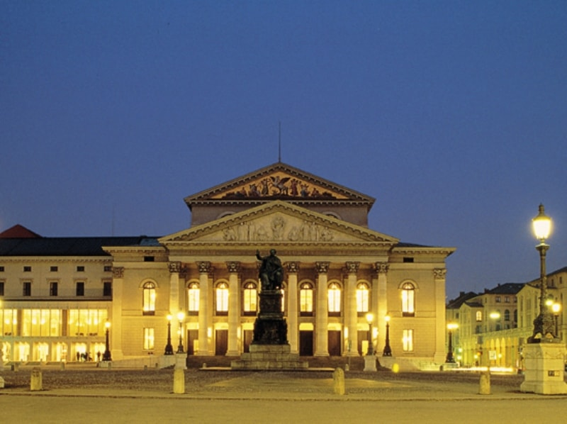 View on the Bavarian State Opera House in Munich in the evening
