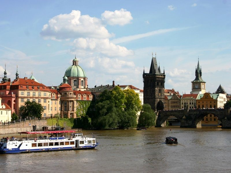 View of Vltava River and Charles Bridge