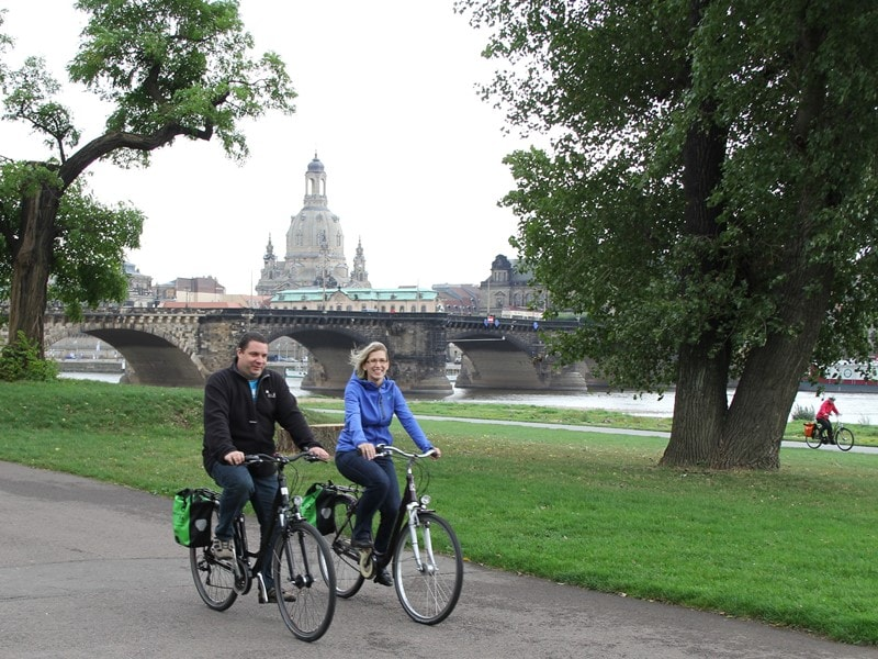 Cyclists along the Elbe Cycle Path in Dresden