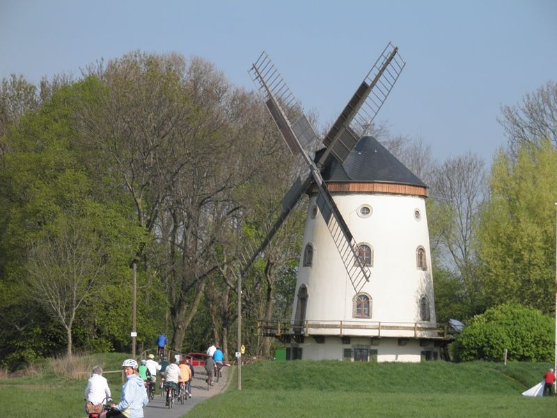 Cyclists along the Elbe Cycle Path at the Windmill 'Gohliser Windmühle'