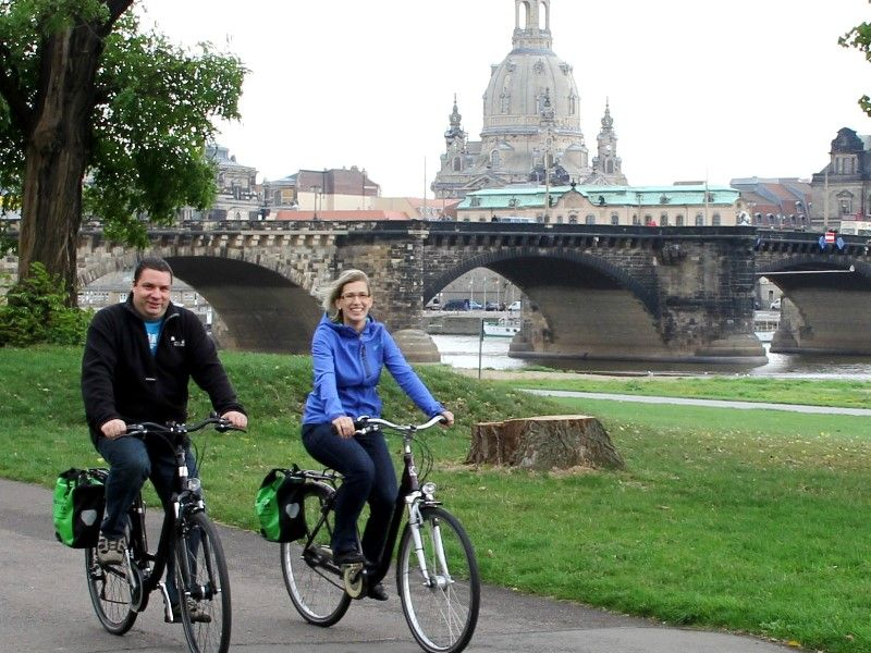 Cyclists along the Elbe River Cycle Path in Dresden