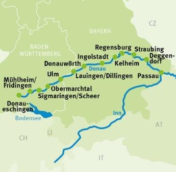 Donauradweg Ulm Passau Karte.Donaueschingen Passau Donau Radweg Radreisen