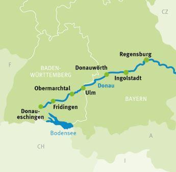 Donauradweg Ulm Passau Karte.Donaueschingen Regensburg Sportive Radtour Donau Radweg