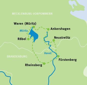 Radweg Mecklenburgische Seenplatte Karte.Rundtour Mecklenburgische Seenplatte Havel Radweg Radreisen