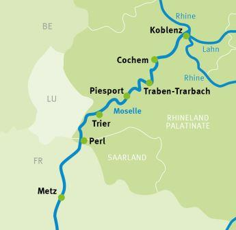 Mosel River Germany Map.Metz Koblenz Moselle River Cycle Path Cycling Holidays Germany