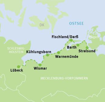 Ostseeradweg Lübeck Stralsund Karte.Lübeck Stralsund Ostseeküsten Radweg Radreisen Radtouren
