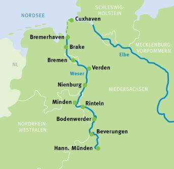 Weser Radweg Karte.Hann Münden Cuxhaven Weser Radweg Radreisen Radtouren