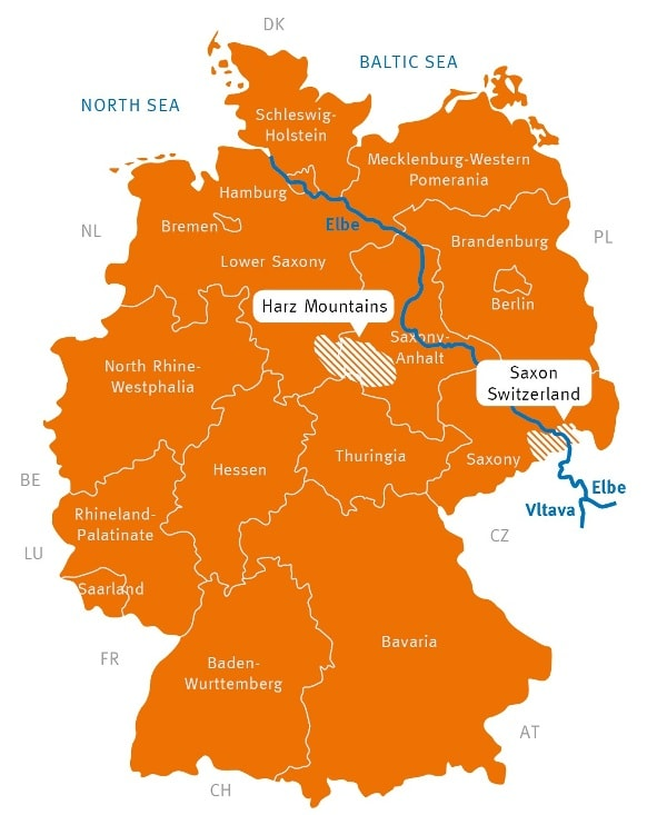 Map of our German hiking regions where AugustusTours organizes walking holidays
