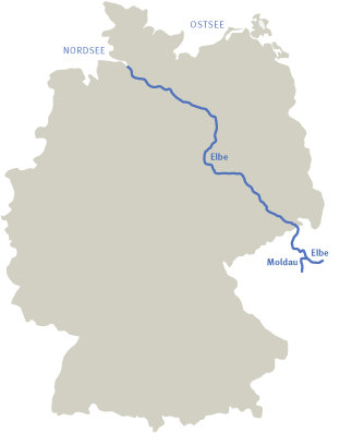 Overwiev map of the Elbe River in Germany